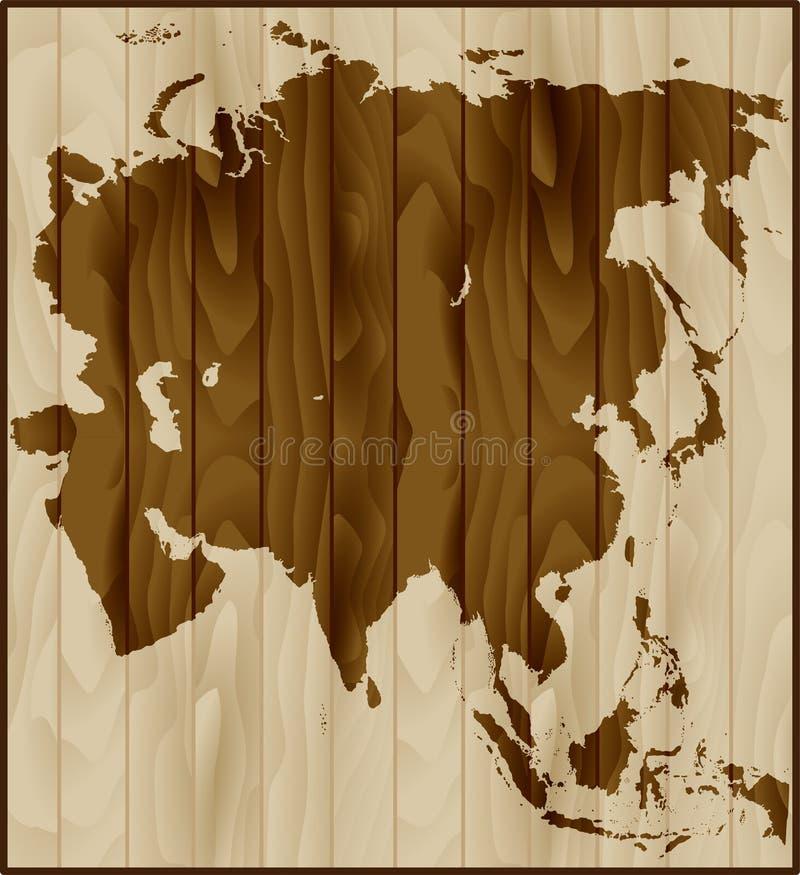 Wektorowa mapa Azja na drewnianym tle royalty ilustracja
