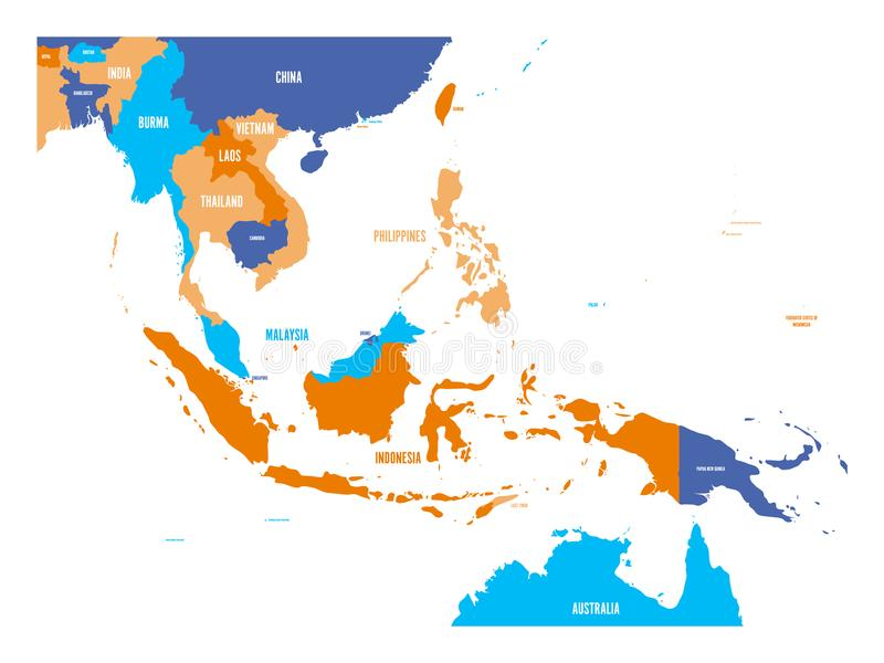 Wektorowa mapa Azja Południowo-Wschodnia royalty ilustracja