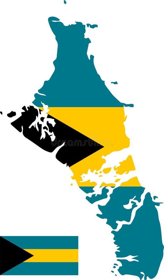 Wektorowa mapa Bahamas z flagą odosobniony, biały tło ilustracja wektor