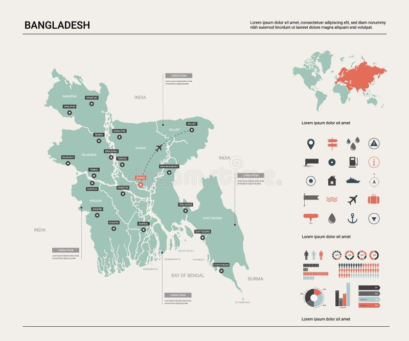 Wektorowa mapa Bangladesz Wysokość wyszczególniał kraj mapę z podziałem, miastami i kapitałowym Dhaka, Polityczna mapa, światowa  ilustracji