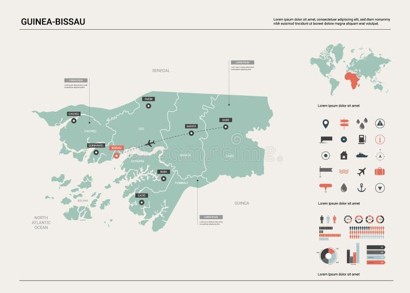 Wektorowa mapa Bissau Wysoko?? wyszczeg ilustracji