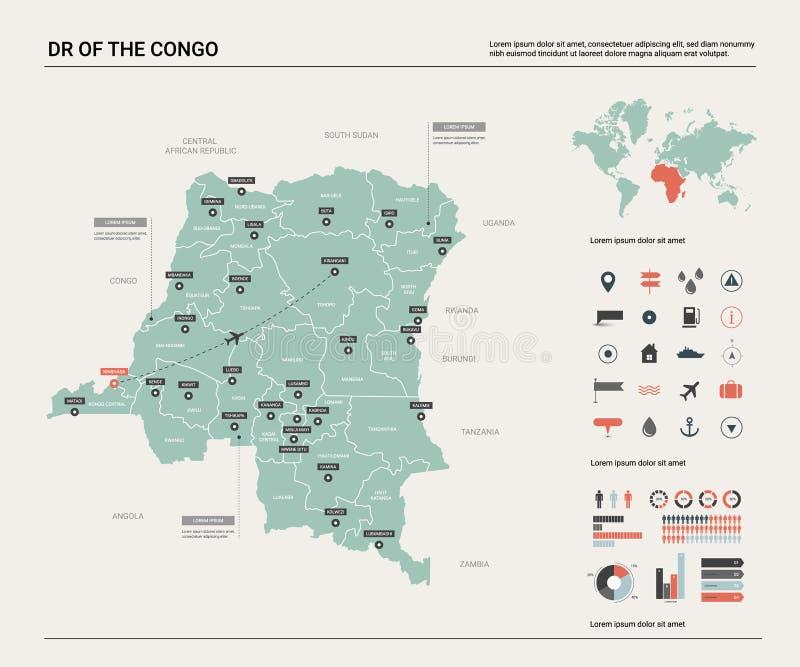 Wektorowa mapa DR Kongo Wysokość wyszczególniał kraj mapę z podziałem, miastami i kapitałem, Kinshasa Polityczna mapa, ?wiatowa m royalty ilustracja