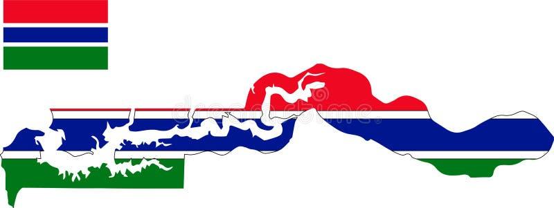 Wektorowa mapa Gambia z flagą odosobniony, biały tło royalty ilustracja