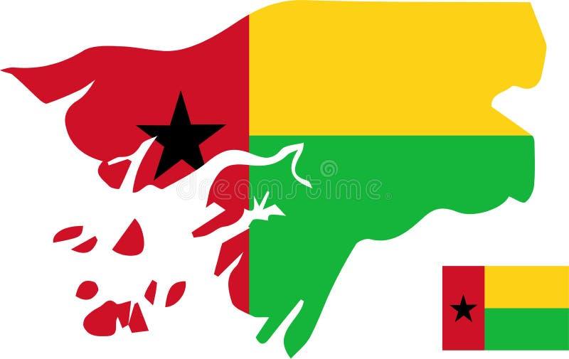 Wektorowa mapa gwinea Bissau z flagą odosobniony, biały tło ilustracja wektor
