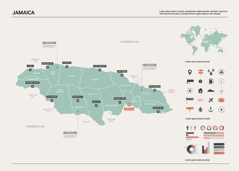Wektorowa mapa Jamajka ilustracji