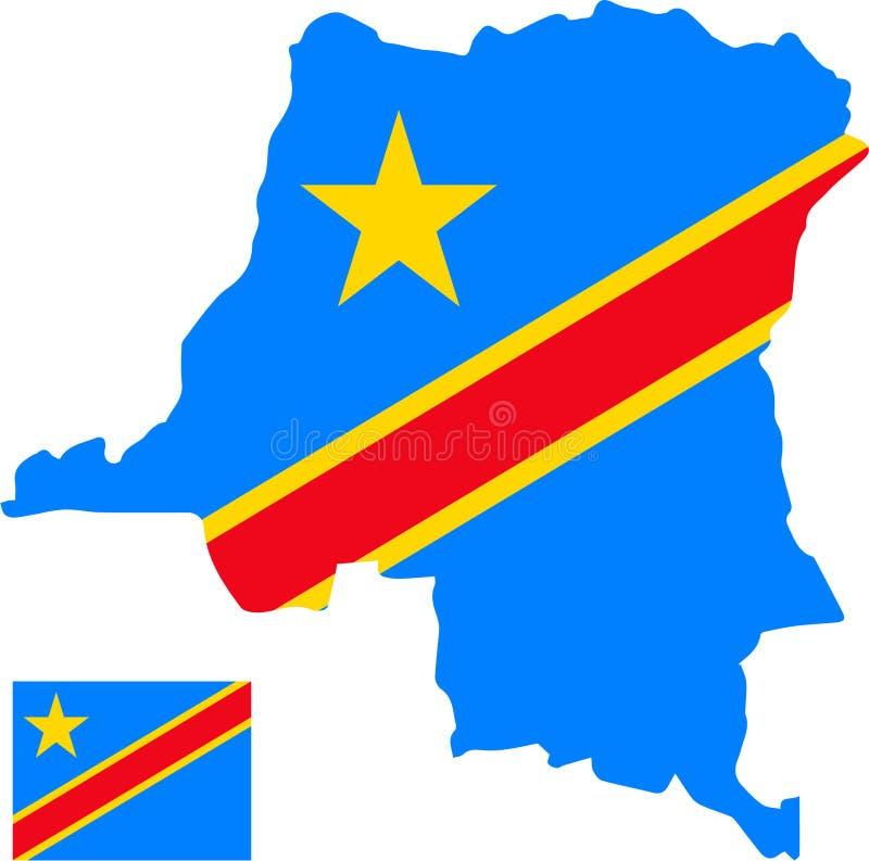 Wektorowa mapa Kongo Demokratyczna republika z flagą odosobniony, biały tło ilustracja wektor