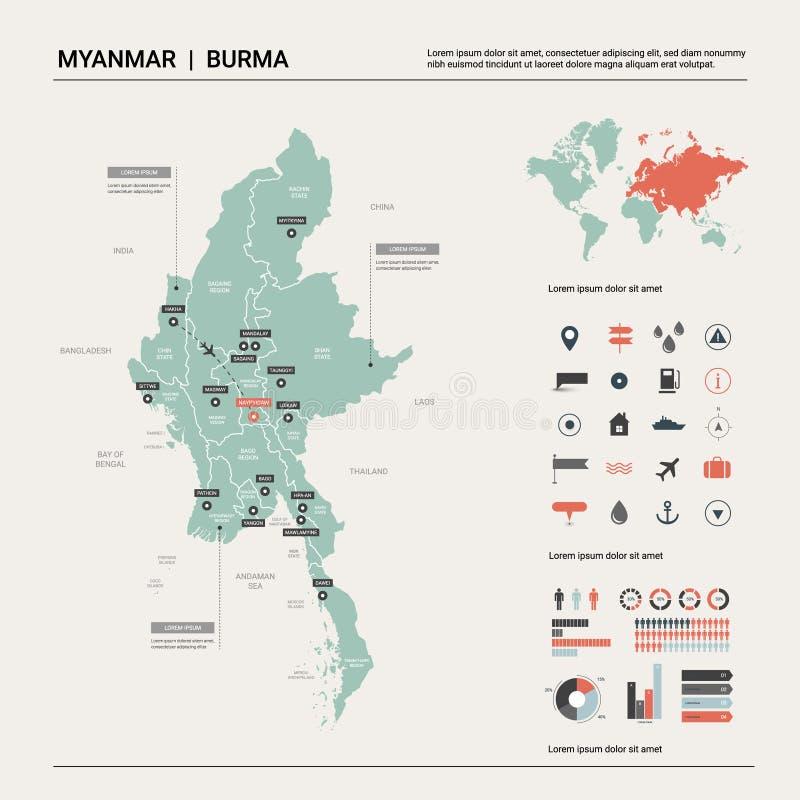Wektorowa mapa Myanmar ilustracja wektor