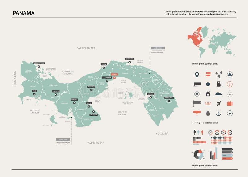 Wektorowa mapa Panama royalty ilustracja