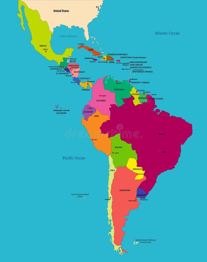 Wektorowa mapa polityczna Ameryki Łacińskiej ilustracja wektor