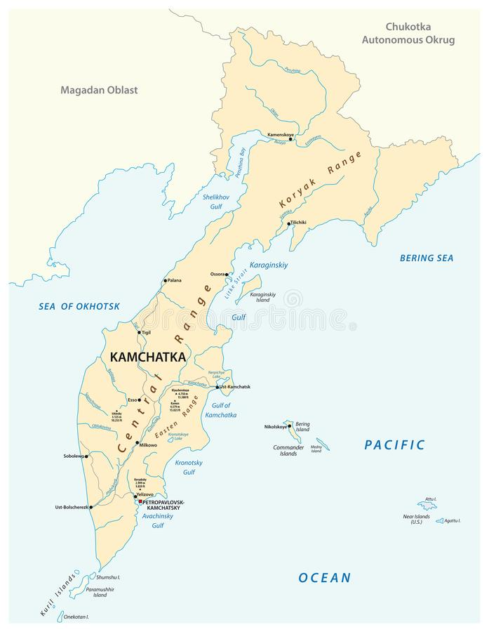 Wektorowa mapa rosyjski daleki wschodni region Kamchatka ilustracja wektor