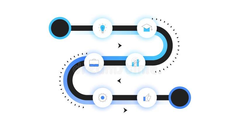 Wektorowa mapa samochodowa, Nowożytna Infographic linia czasu Z Neonowym Backlight Szablon Dla Biznesowej prezentaci, sprawozdani royalty ilustracja