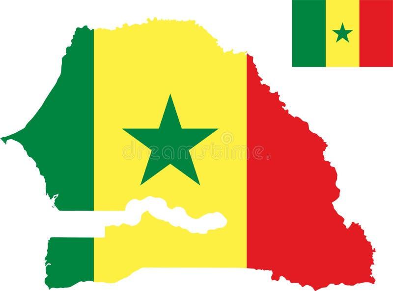 Wektorowa mapa Senegal z flagą odosobniony, biały tło royalty ilustracja