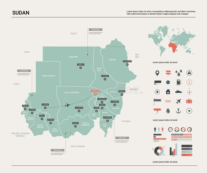 Wektorowa mapa Sudan royalty ilustracja