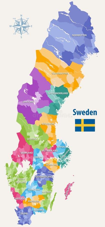 Wektorowa mapa Szwecja zarząd miasta barwił okręgami administracyjnymi ilustracja wektor