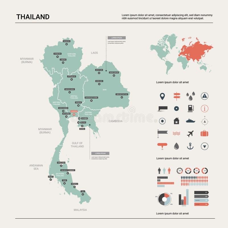 Wektorowa mapa Tajlandia ilustracji