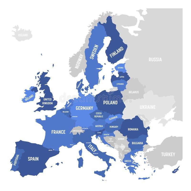 Wektorowa mapa UE, Europejski zjednoczenie ilustracja wektor