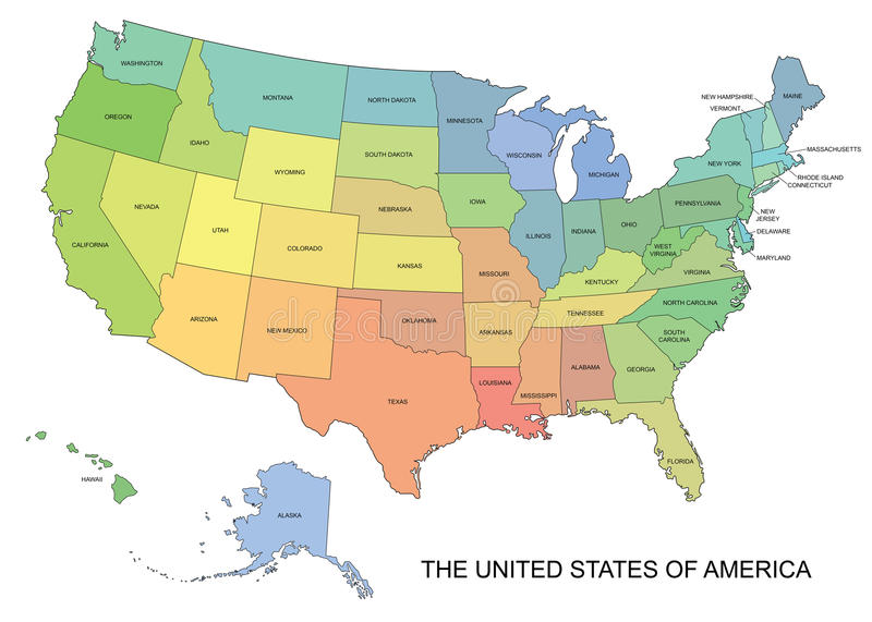 Wektorowa mapa usa z stanów imionami royalty ilustracja