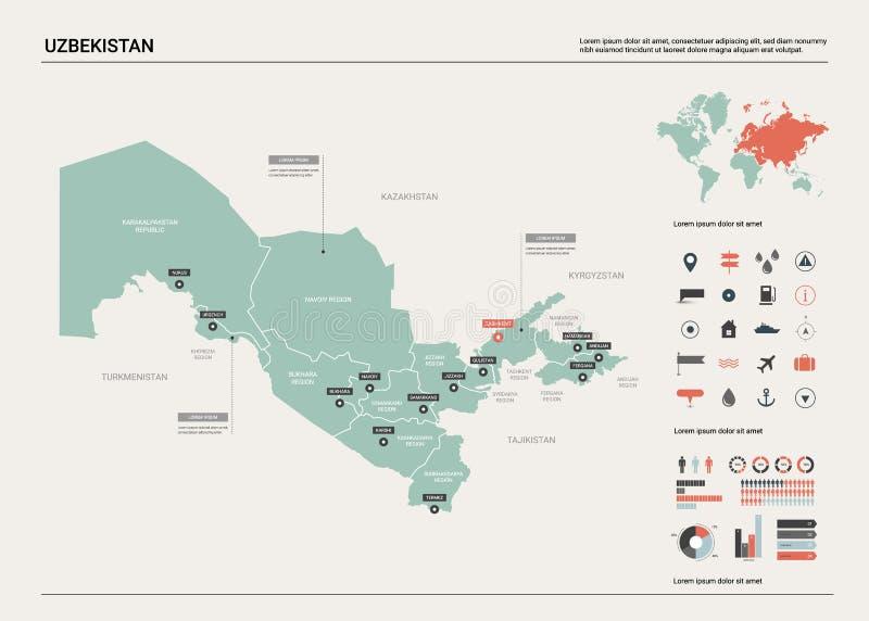 Wektorowa mapa Uzbekistan ilustracji