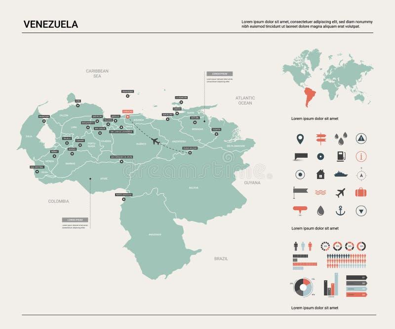 Wektorowa mapa Wenezuela Wysoko?? wyszczeg?lnia? kraj map? z podzia?em, miastami i kapita?em, Caracas Polityczna mapa, ?wiatowa m ilustracji