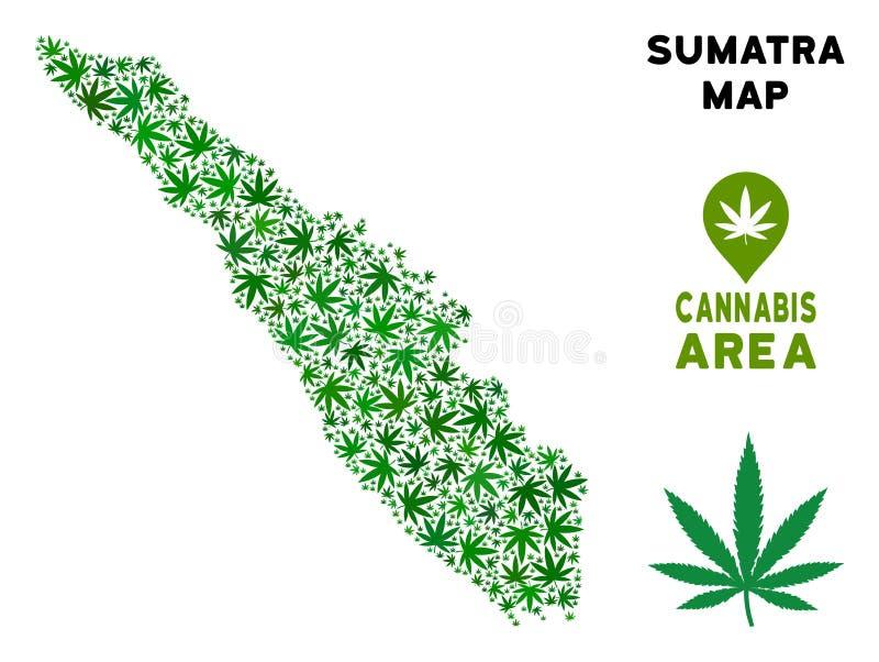 Wektorowa marihuana kolażu Sumatra wyspy mapa ilustracji
