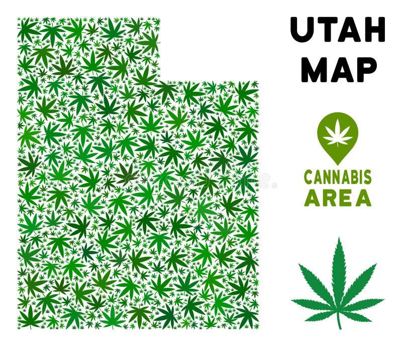 Wektorowa marihuana składu Utah stanu mapa ilustracja wektor