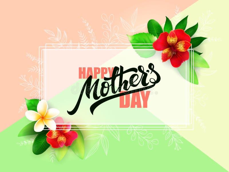 Wektorowa matka dnia powitań karta z ręki literowaniem z tropikalnymi kwiatami - alstroemeria - szczęśliwy matka dzień - ilustracji