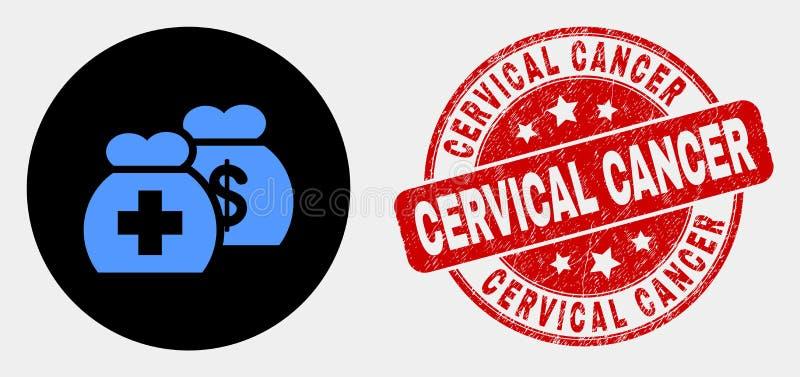 Wektorowa Medyczna fundusz ikona i cierpienie raka szyjkiego macicego foka ilustracji