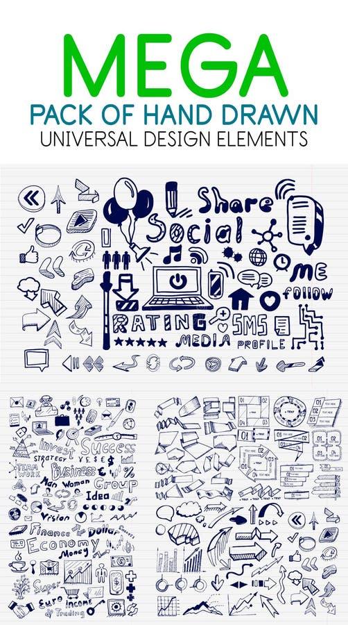 Wektorowa mega kolekcja biznes, gospodarka i socjalny elementy ręki rysujący, ilustracja wektor