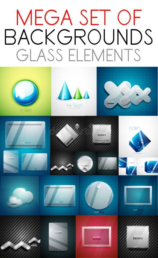 Wektorowa mega kolekcja szklani elementy ilustracji