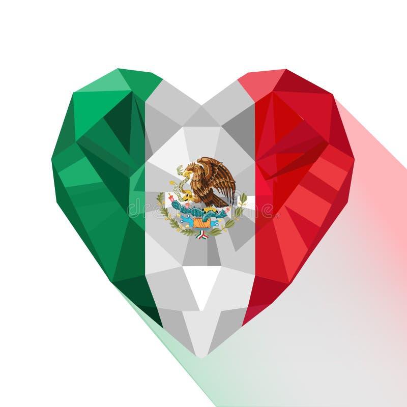 Wektorowa Meksykańska serce flaga Zlani Meksykańscy stany royalty ilustracja