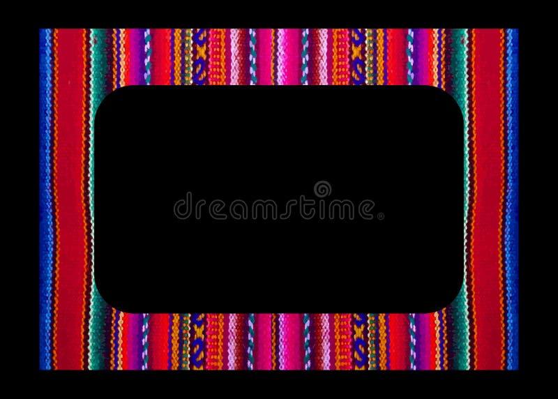 Wektorowa meksykanin rama odizolowywaj?ca na czarnym tle Kolorowa granica w navajo stylu, tkaniny hafciarskie, ameryka ?aci?ska i zdjęcia stock