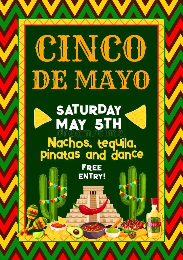 Wektorowa meksykanina Cinco de Mayo przyjęcia fiesta ulotka ilustracji