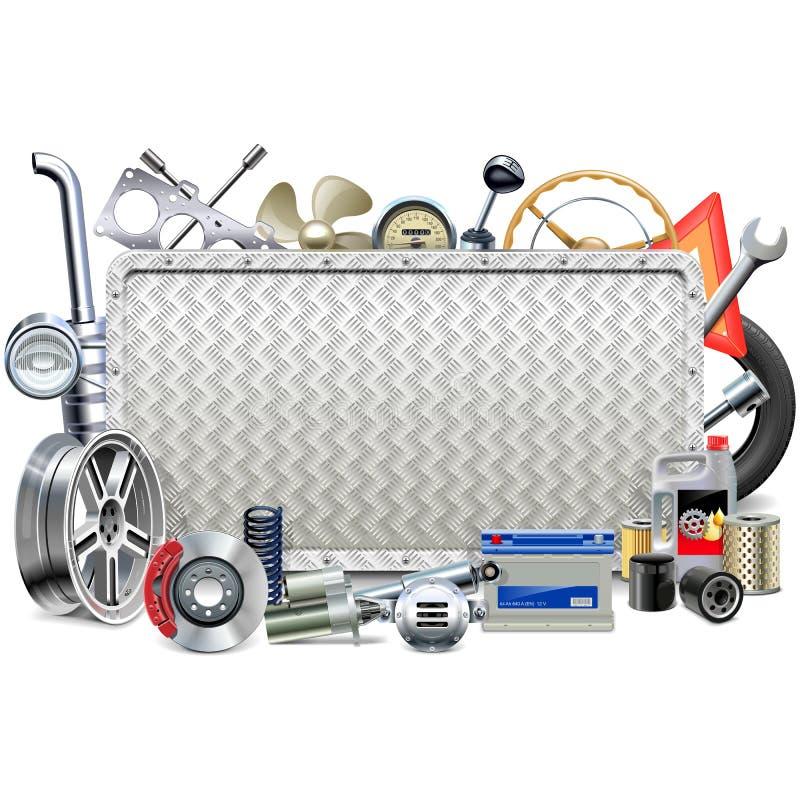 Wektorowa metal deska z Samochodowymi częściami ilustracji