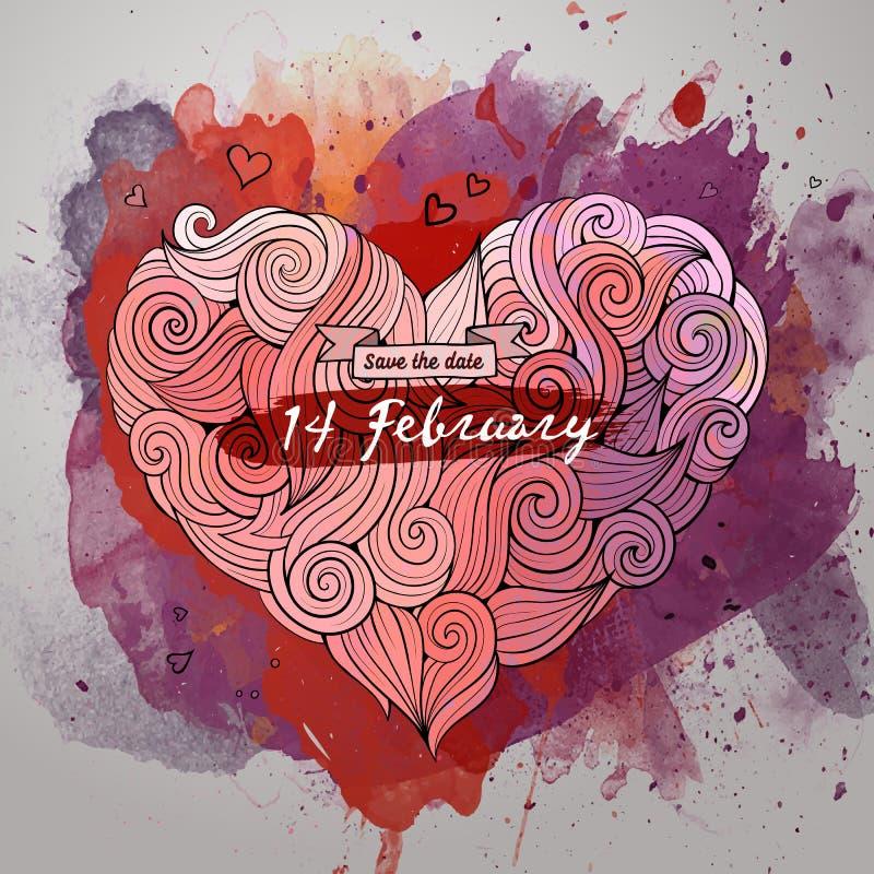 Wektorowa miłość doodles akwarela karcianego projekt ilustracji