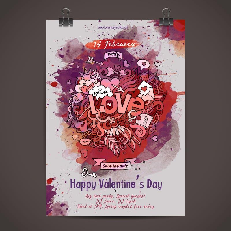 Wektorowa miłość doodles akwarela plakatowego projekt royalty ilustracja