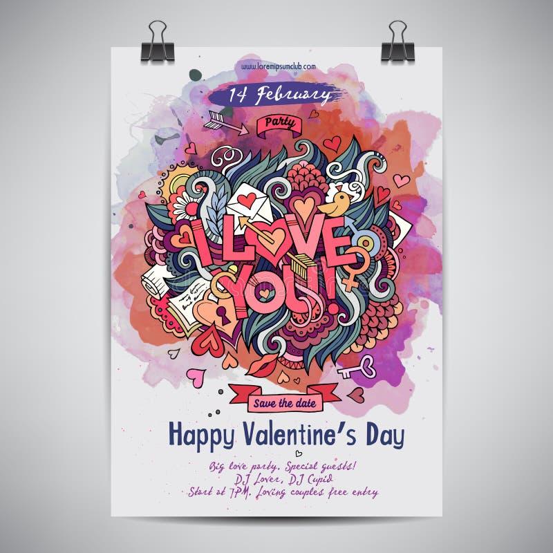 Wektorowa miłość doodles akwarela plakatowego projekt ilustracji