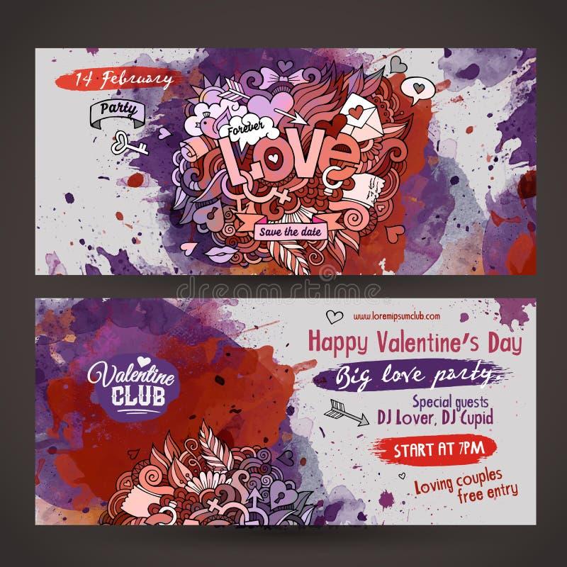 Wektorowa miłość doodles akwareli farby przyjęcia ulotka ilustracja wektor