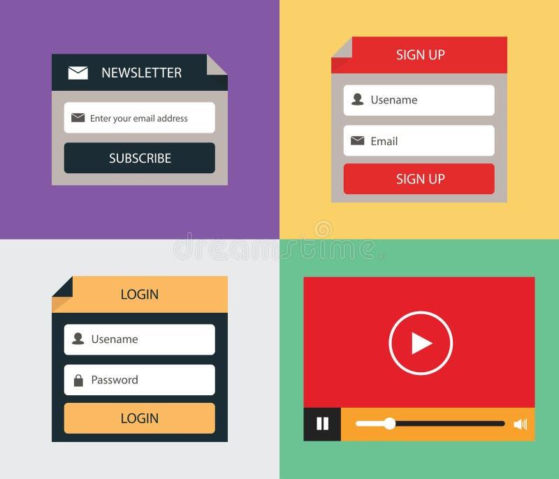 Wektorowa mieszkanie forma (nazwa użytkownika, Podpisuje Up, gazetka i odtwarzacz wideo) ilustracja wektor