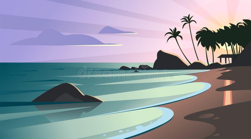 Wektorowa mieszkanie krajobrazu ilustracja dziki natury lata zmierzch na plażowym widoku z niebem, denny wybrzeże, ocean, drzewka royalty ilustracja