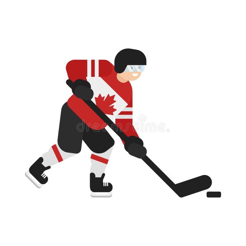 Wektorowa mieszkanie stylu ilustracja Kanadyjski gracz w hokeja ilustracji