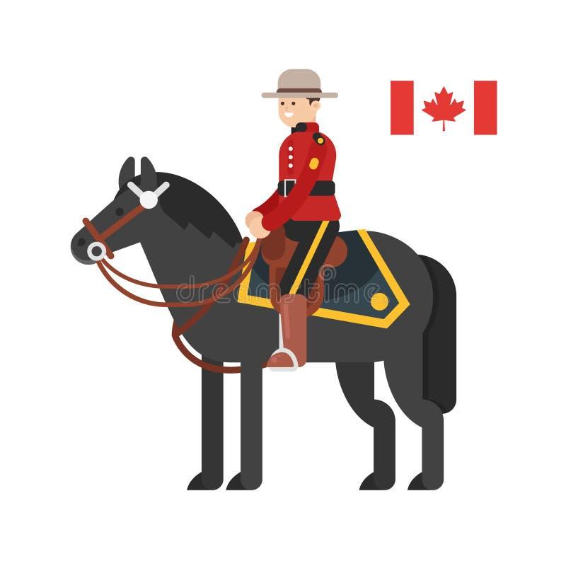Wektorowa mieszkanie stylu ilustracja Królewski kanadyjczyk Wspinał się policję ilustracja wektor
