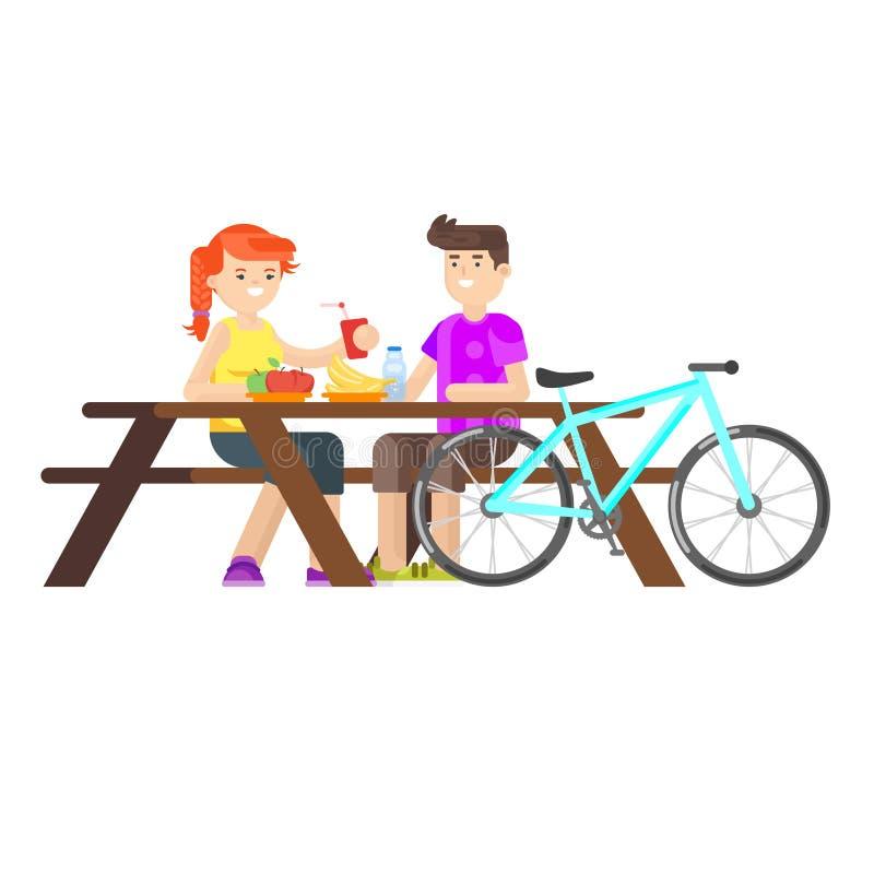 Wektorowa mieszkanie stylu ilustracja młoda szczęśliwa para ma pinkin ilustracji