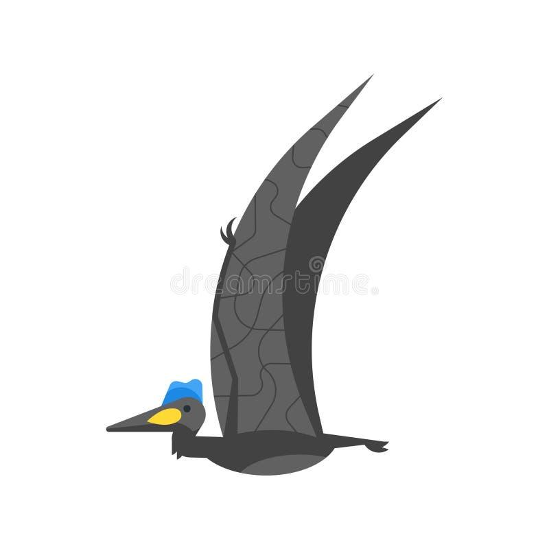 Wektorowa mieszkanie stylu ilustracja prehistoryczny zwierzę - Quetzalcoatlus ilustracja wektor