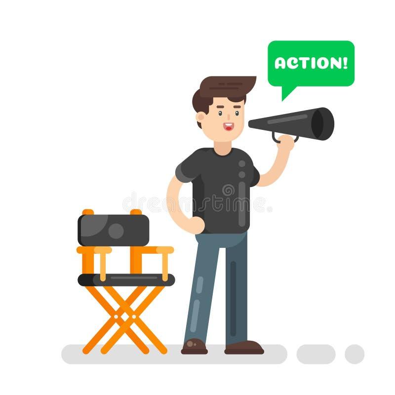 Wektorowa mieszkanie stylu ilustracja reżyser filmowy ilustracji