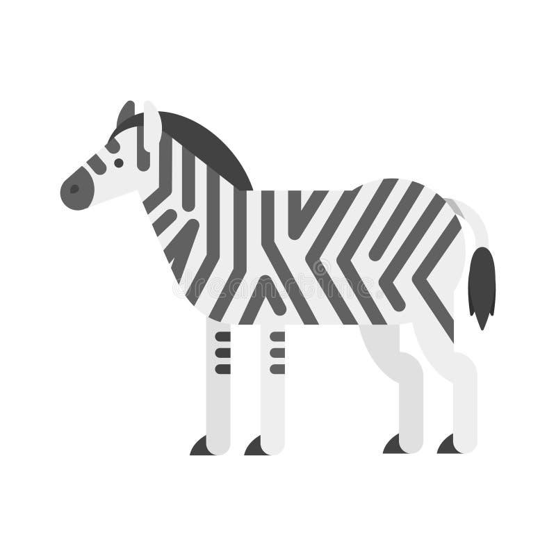 Wektorowa mieszkanie stylu ilustracja zebra ilustracji