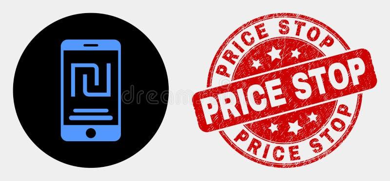 Wektorowa Mobilna syklu konta ikona i Drapający ceny przerwy Watermark ilustracja wektor