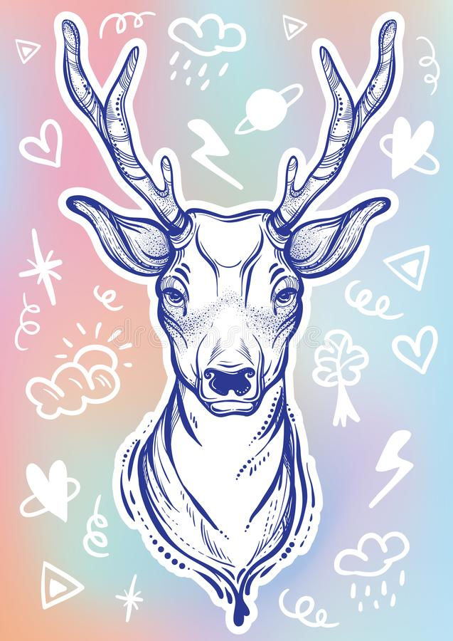 Wektorowa modna ilustracja z nakreślenie stylu doodle i rogaczem podpisuje wokoło Pojęcie sztuka Tatuaż, astrologia, alchemia, ma ilustracji