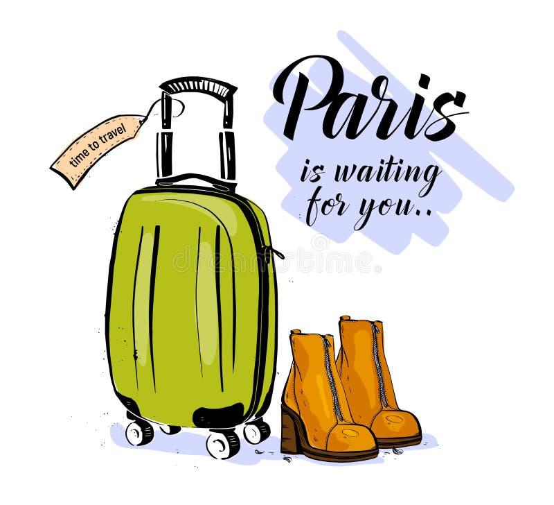 Wektorowa modna mody ilustracja z ręka rysującymi kobieta butami, bagażem & Paryż czekania, powitaniem odizolowywającym na białym ilustracji