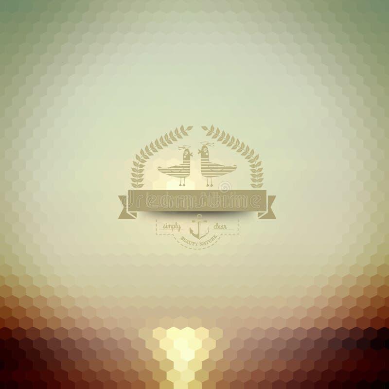 Wektorowa modniś odznaka Zmierzch na morzu Retro etykietka projekt z royalty ilustracja