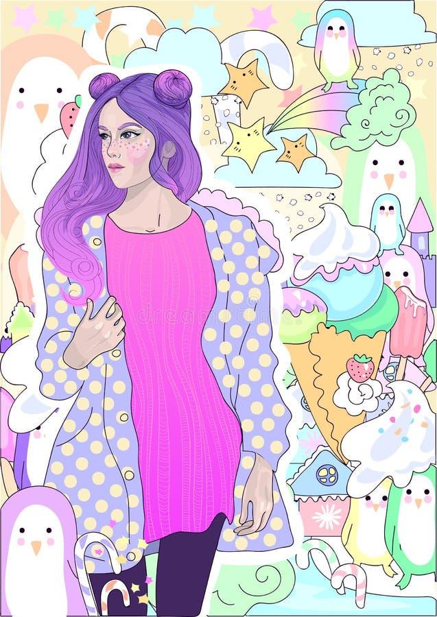 Wektorowa mody dziewczyna z różowym włosy w ciepłej kurtce na tle lody, zima i pingwiny, ilustracji